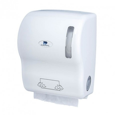Dispensador Papel bobina Autocortante Blanco